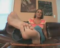 horny girl shows you her feet