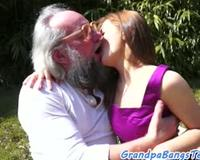 Classy beauty creampied by grandpa outdoors
