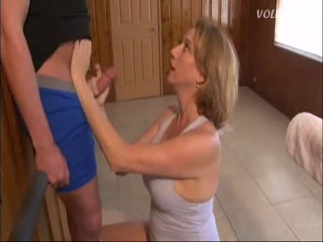 Stepmom Helps Son Handjob