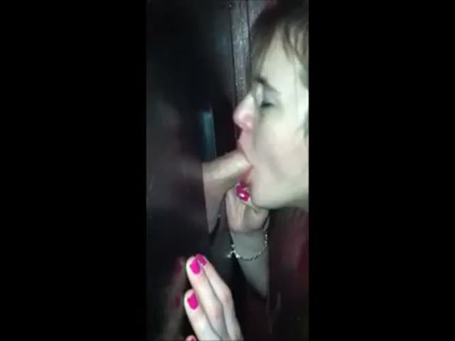 Wife sucks disappointing small cock at gloryhole