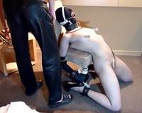 Slave throat training and face fuck w/ ring gag