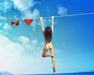 On the clothesline