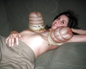 Slut gets her tits weirdly tied up