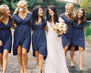 five bridesmaids with the bride
