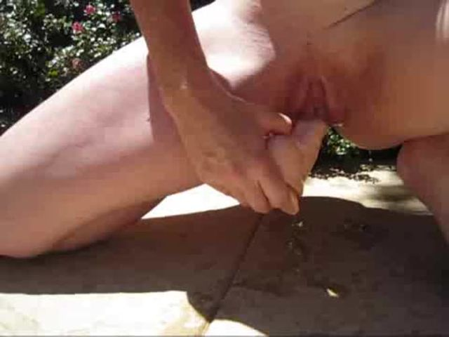 Noisy dripping wet pussy play outside