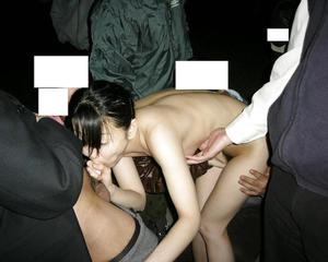 Japanese Slut Dogged by 20 Men in Park