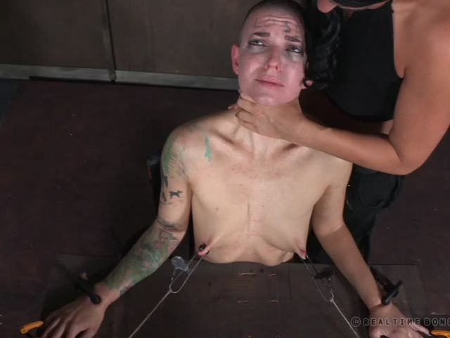 Crying shaved bitch slapped and choked