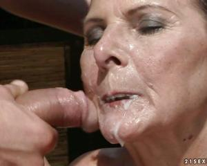cover grannys face in cum