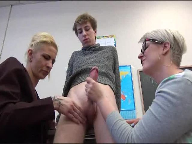 After School Handjob with Teacher and Mom