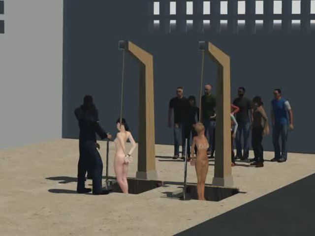 Prison hanging 3d animation