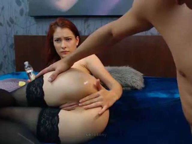 russian redhead first time anal on cam
