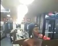 Crazy naked Woman in Restaurant
